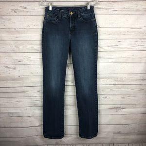 NYDJ Medium Wash Shimmer Straight Leg Jeans